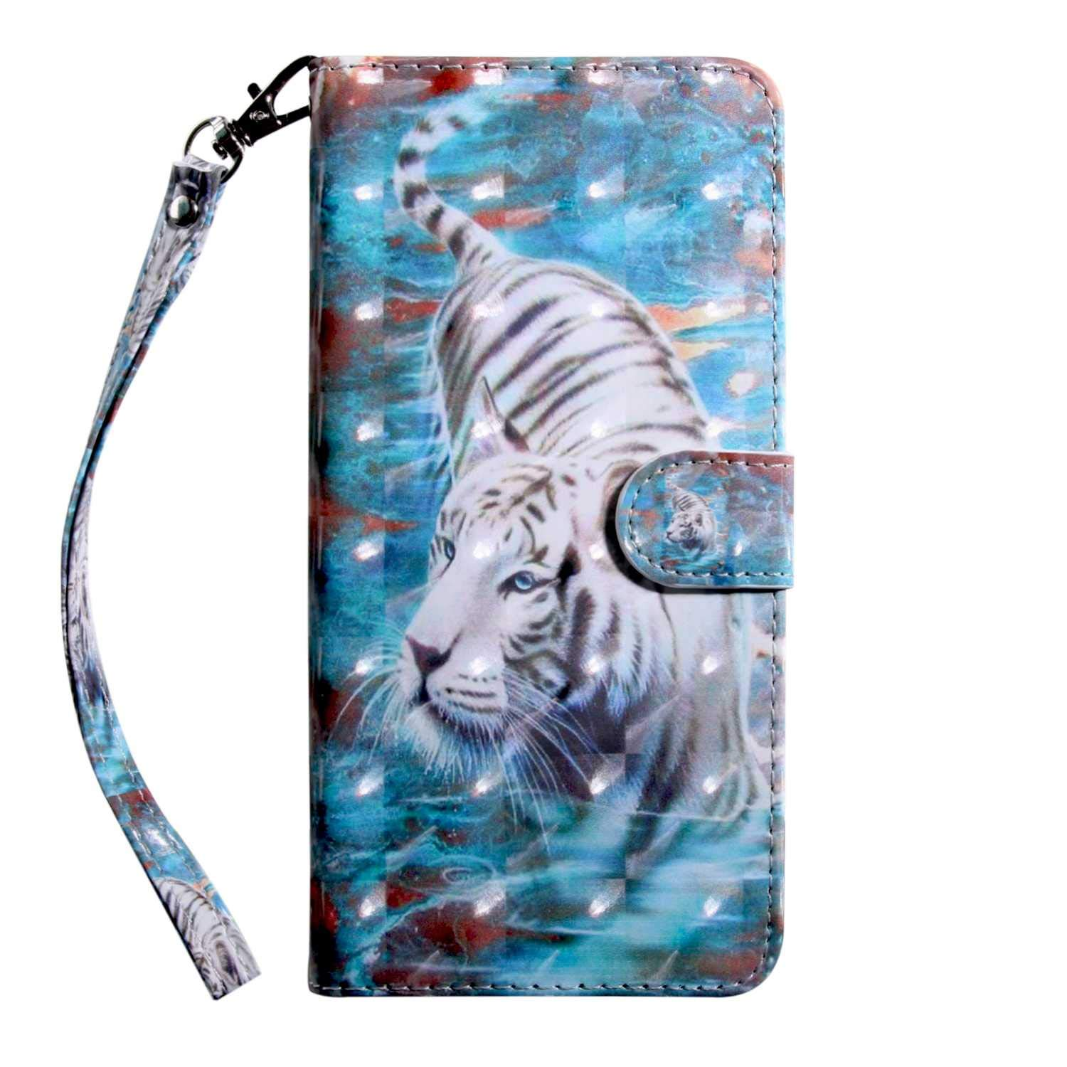 Xiaomi MI 5X Case CUSKING Magnetic Wallet Case for Xiaomi MI 5X [Card Slot] [Hand Strap] [Flip Case] [Easy to Clean] Full Body Proective Case - Blue, Tiger