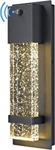 Dusk to Dawn Sensor Outdoor Wall Lamp, HWH Modern LED Exterior Wall Sconce Lantern, Black Finish with Crystal Bubble Glass, 5HW9-B-P BK