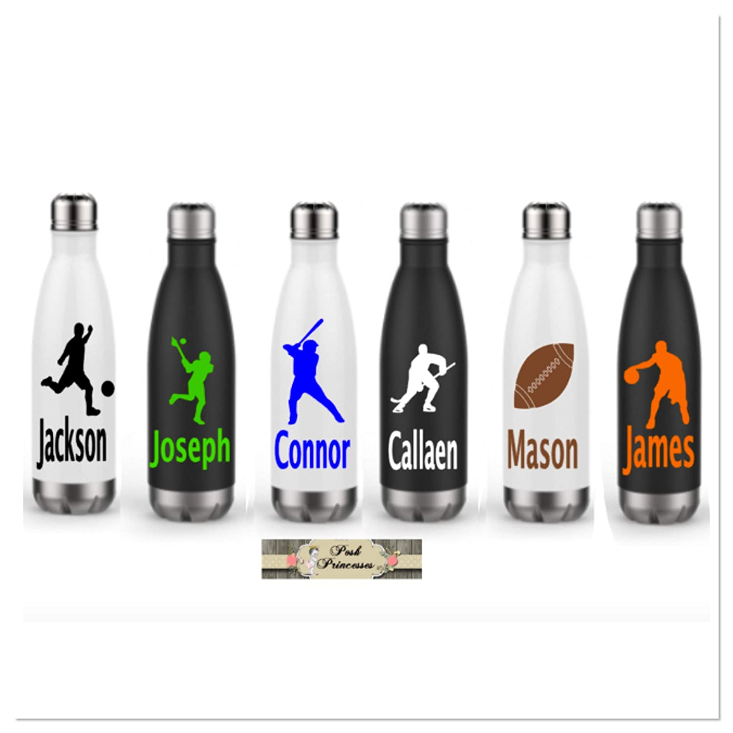 Stainless Steel Sports Water Bottle, ONE 17oz Insulated Water Bottle, Personalized Any Name Or Color, Basketball, Baseball, Soccer, LaCrosse, Hockey, Football
