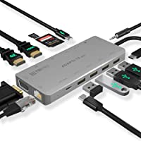 USB C Hub 13-in-1 with Triple Display 2X HDMI 4K, Type-C 100W Charging, 3xUSB 3.0, VGA, 3.5mm Audio, SD/MicroSD Card, 1000MB Ethernet - Multi-Port USB-C Adapter Docking Station MacBook, Dell, HP