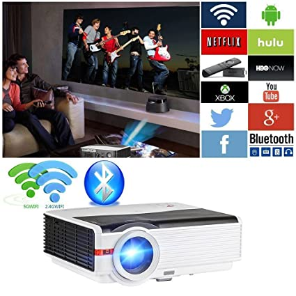 WiFi Wireless Projector 1080p 5000 Lumens, LED LCD Home Cinema Theater  Projector Full HD Support Smartphone iOS DVD Blue-ray Player PS3 PS4 PC  Laptop,