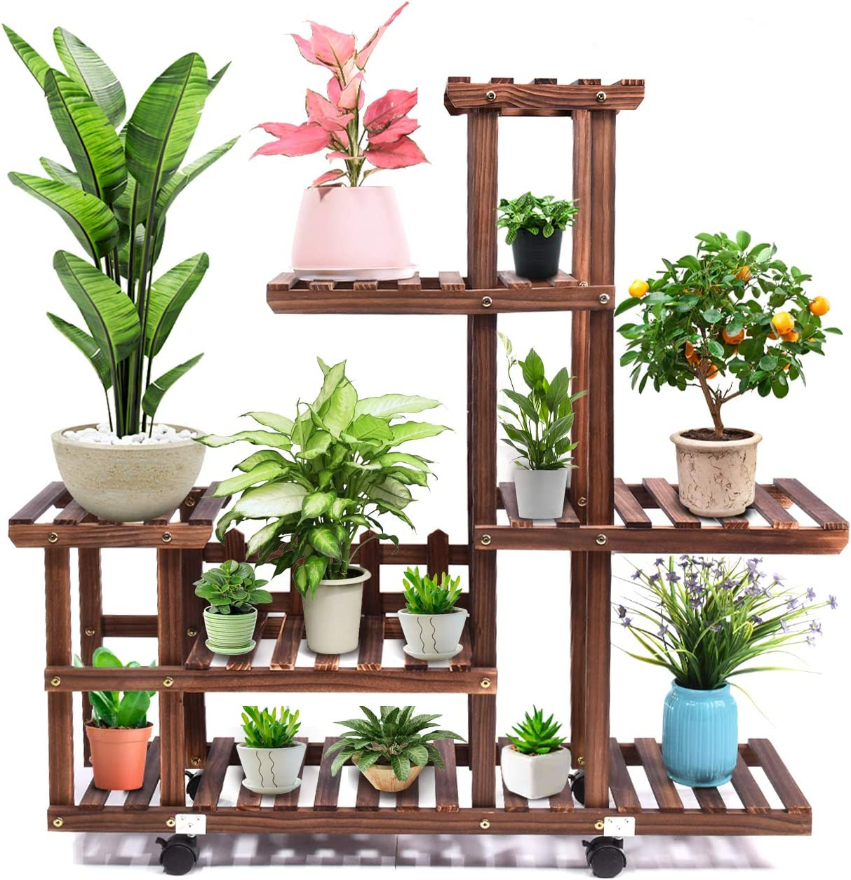 Amazon Com Wood Plant Stand Indoor Outdoor Wooden Plant Display Multi Tier Flower Shelves Stands Garden Plant Shelf Rack Holder Organizer In Corner Living Room Balcony Patio Yard 11 13 Flowerpots Garden