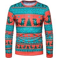 SEWORLD Weihnachten Christmas Herren Abend Party Männer Weihnachtskostüm Sankt Drucken Urlaub Humor Langarm T-Shirt Xmas Top