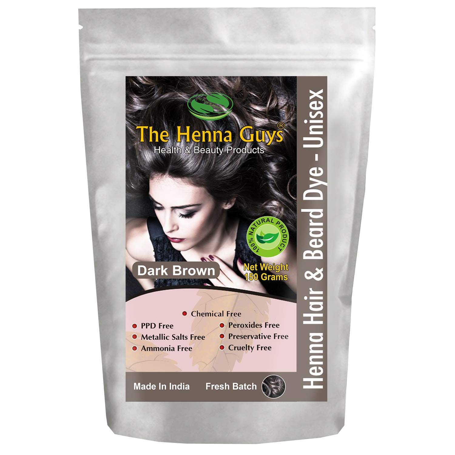 1 Pack of Dark Brown Henna Hair Color/Dye - 150 Grams - Best Henna for Hair, Natural Hair Color - Chemical Free Hair Color - The Henna Guys