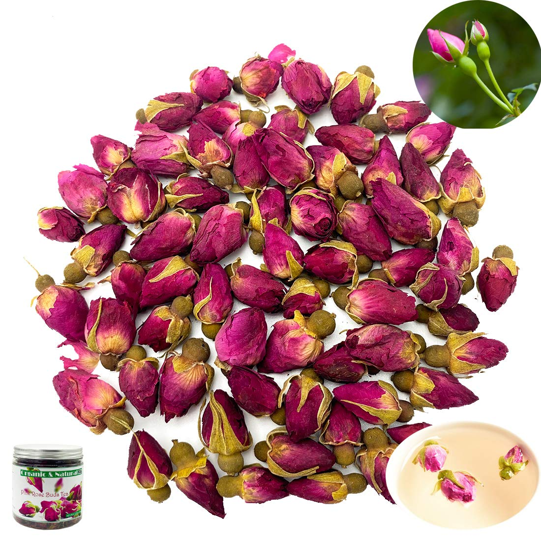 Organic Dried Pink Rose Buds Tea Flower, Edible Small Red Rose Buds and Petals Flower Loose Leaf Health Benefits Decaffeinated