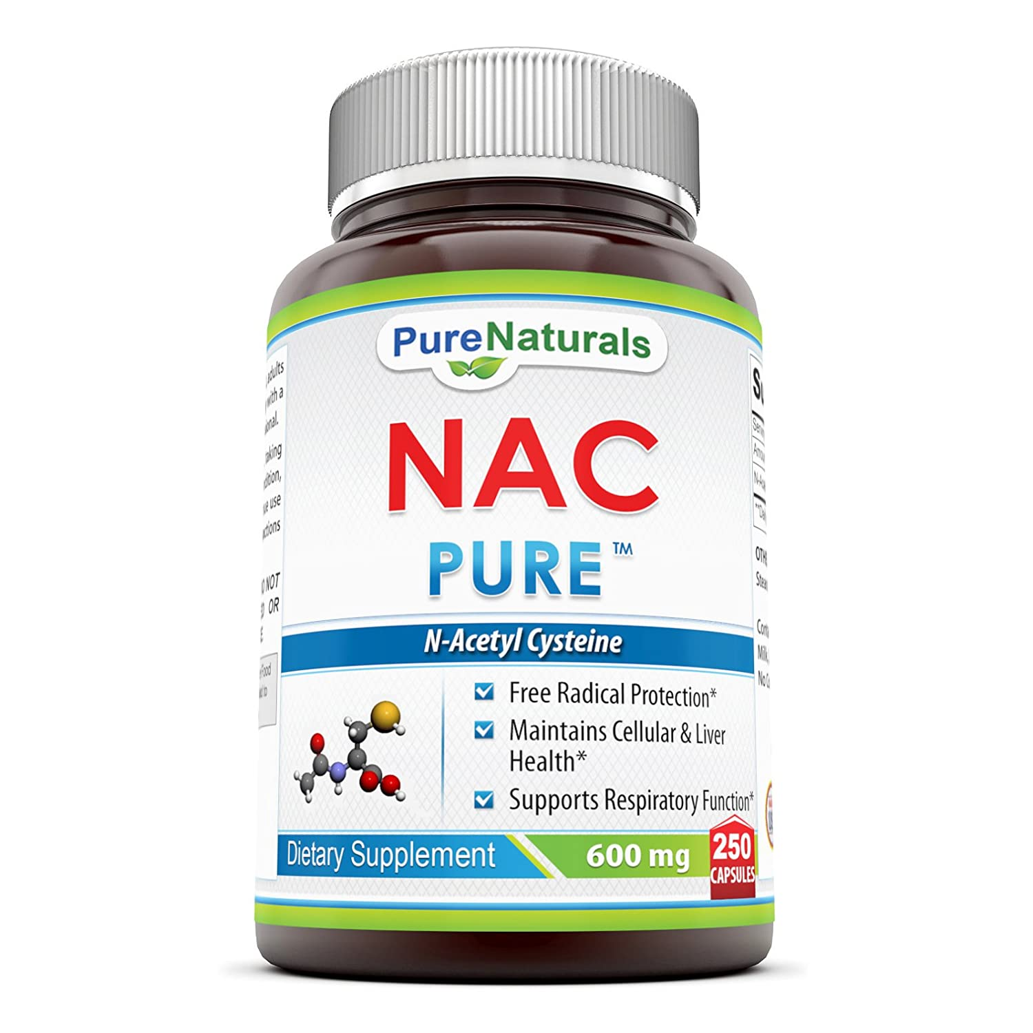 Pure Naturals N-Acetyl Cysteine Capsules, 600 Mg, 250 Capsules- Free Radical Protection* Maintains Cellular & Liver Health* Supports Respiratory Function*