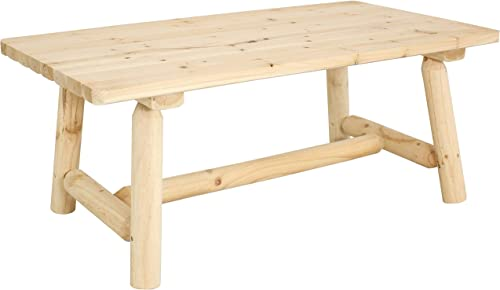 Sunnydaze Rustic Unfinished Wooden Coffee Table