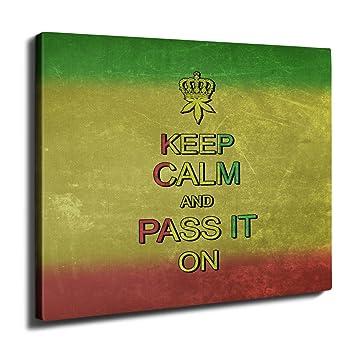 Amazon.com: wellcoda Keep Calm Weed Pot Rasta On Rasta Smoke Wall ...