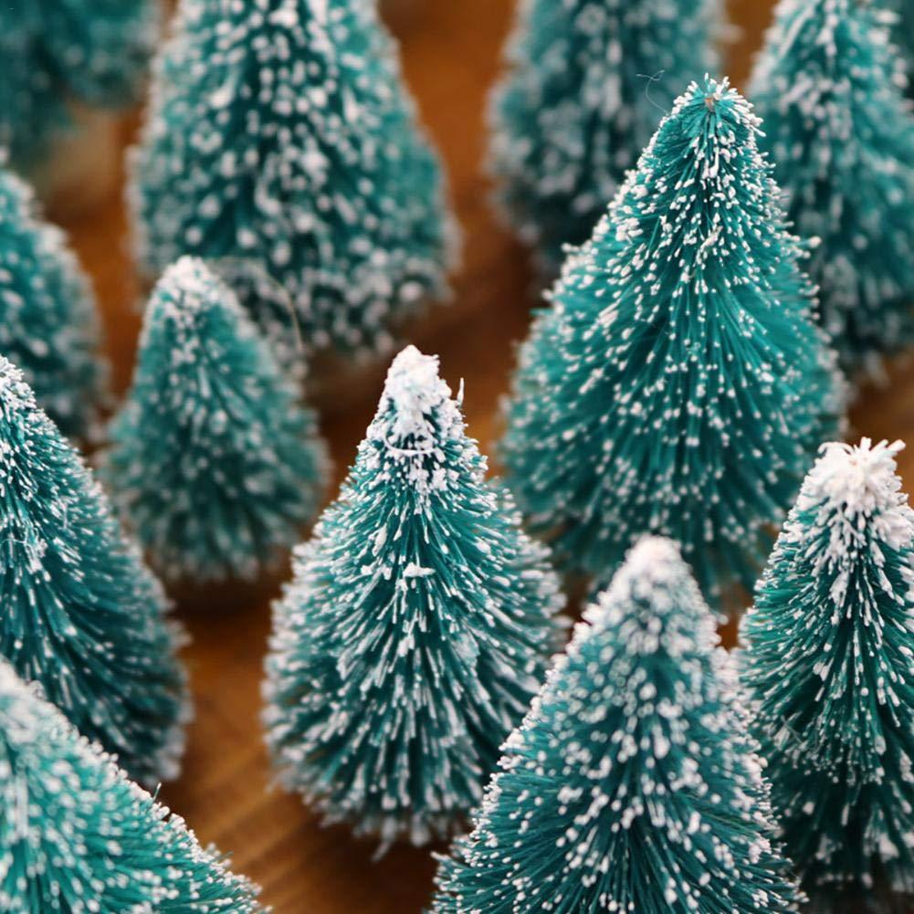 Mini Alberi di Neve Artificiali in sisal Alberi di Natale Alberi di Pino Ornamenti con Base in Legno per la Decorazione Domestica Appealing LILYKASURE 12 Pezzi di Alberi per Pennello Mini Bottiglia
