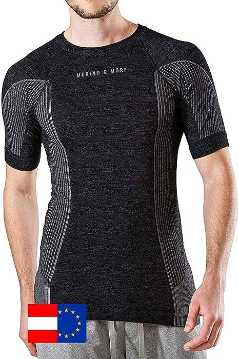 Merino /& More Maglietta funzionale a maniche corte da uomo in lana merino