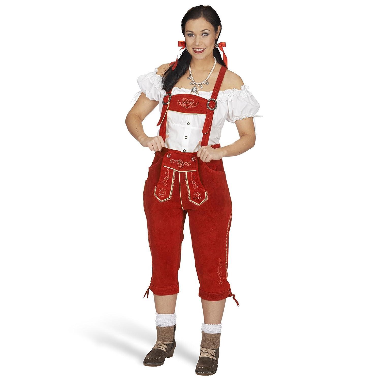 Trachten Lederhose Damen 3/4 Länge Echtleder rot Brustgeschirr abnehmbar perfekt zum Oktoberfest