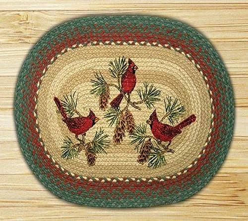 Earth Rugs Cardinals Design Braided Rug, 20 x 30 , Burgundy Green