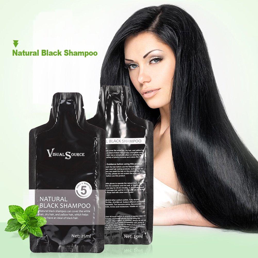 Noir Cheveux, Shampooing 2pcs bien sûr White Hair Removal Dye Coloration Shampoing + Gant jetable Brino