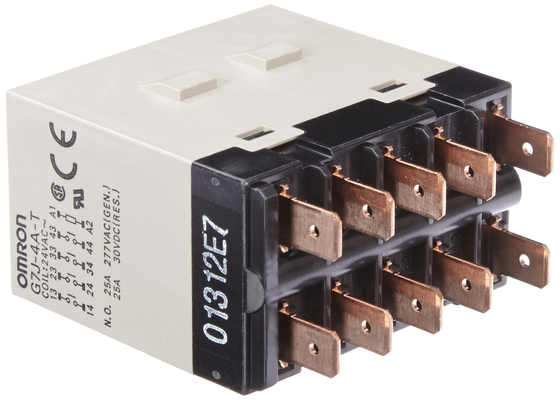 Omron G7J-4A-T AC24 General Purpose Relay, Quick-Connect Terminal, W-Bracket Mounting, Quadtruple Pole Single Throw Normally Open Contacts,  75 mA Rated Load Current, 24 VAC Rated Load Voltage