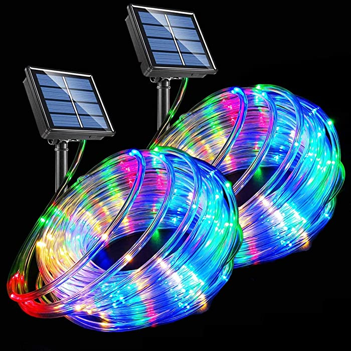 LED Rope Lights Solar Powered String Lights 40Ft 120 LEDs 8 Modes Color Changing Tube Light Indoor Outdoor Waterproof Strip Fairy Lights for Garden Patio Christmas Party Camping Holiday Décor, 2 Pack
