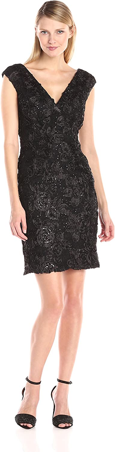 Marina Women's Cap Sleeve Floral 35% OFF Sequined V Dress-Missy Neck 4 years warranty
