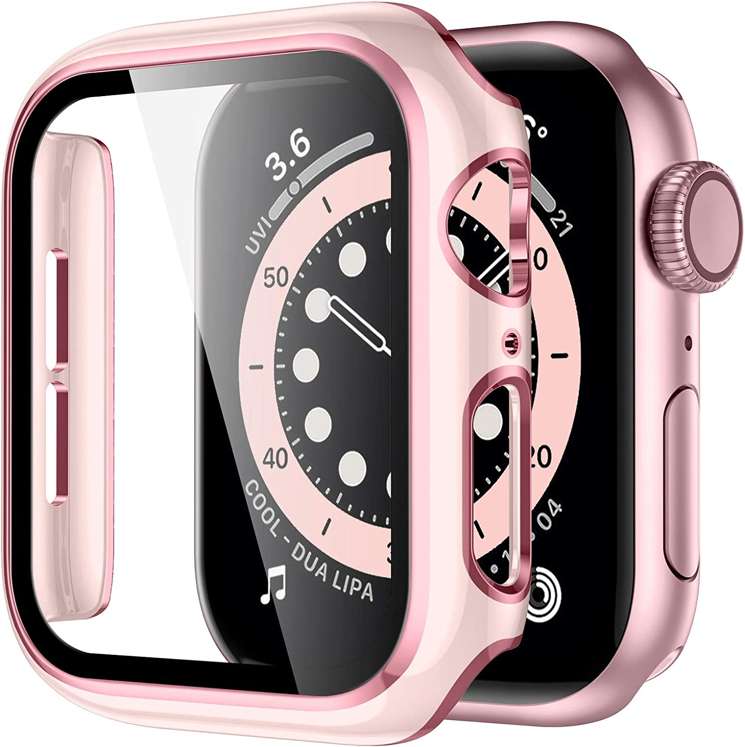 GEAK Hard Case Compatible for Apple Watch 40mm Built-in Screen Protector, Full Coverage Hard PC Cover with Pink Edge Screen Protector for Women Men iWatch 40mm Series 6/5/4/SE Sand Pink/Pink