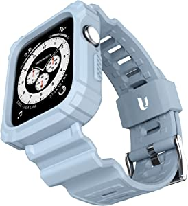 URBANITE for Apple Watch Band 44mm 42mm with Bumper Case, Rugged Protective Drop Shock Resistant Case with TPU Band Strap Fit for iWatch Series 3 4 5 6 SE Men Women Sport Military Style(Grey)
