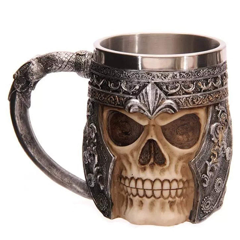 Agile-shop Stainless Steel Skull Mug 3D Design Creepy Skull Coffee Mug Skeleton Tankard Cup