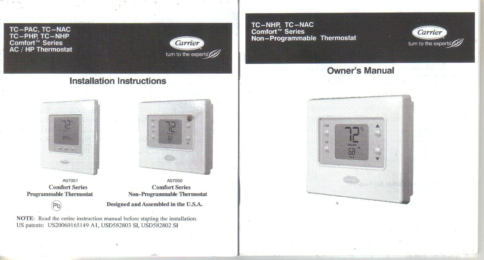 Carrier TC-NHP TC-NAC TC-PHP TC-NHP Thermostat Owner's Manual Installation  Guide: Carrier Corp: Amazon.com: Books