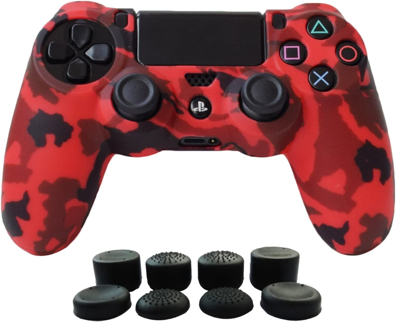 Hikfly Silicone Gel Controller Cover Skin Protector Compatible for Sony Playstation 4 PS4/PS4 Slim/PS4 Pro Controller (1 x Controller Cover with 8 x FPS Pro Thumb Grip Caps)(Red)