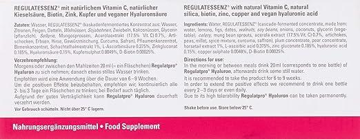 Dr. Niedermaier Natural Luxury Regulatpro - Ácido hialurónico de cuidado natural, bebida anti-envejecimiento 20 ml (20 unidades): Amazon.es: Belleza