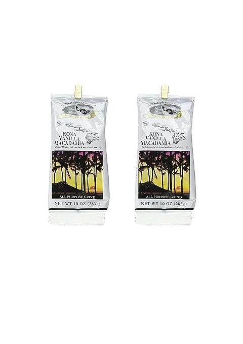Hawaiian Isles Kona Coffee Co. Kona Vanilla Macadamia Nut Ground Coffee, Medium Roast, 10 ounce bag (2 pack)