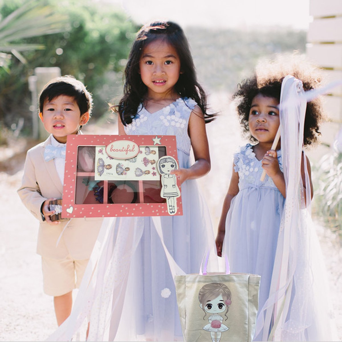 FLOWER Girl Wedding Birthday Christmas Favors Gift Tote Bag Cotton with Beautiful Wood Trinket Box full of toys favors girls jewelry headbands by Global Huntress (Image #5)