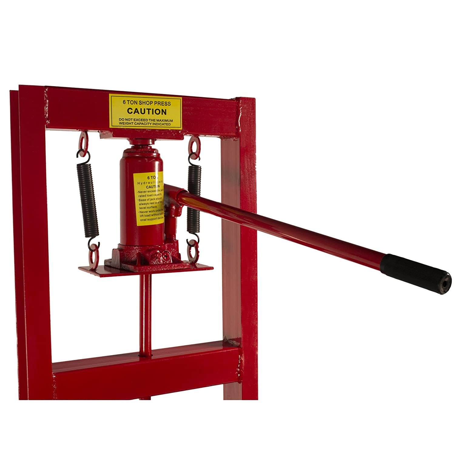 Dragway Tools 6-Ton Hydraulic Shop Floor Press with Press Plates and H Frame is Ideal for Gears and Bearings