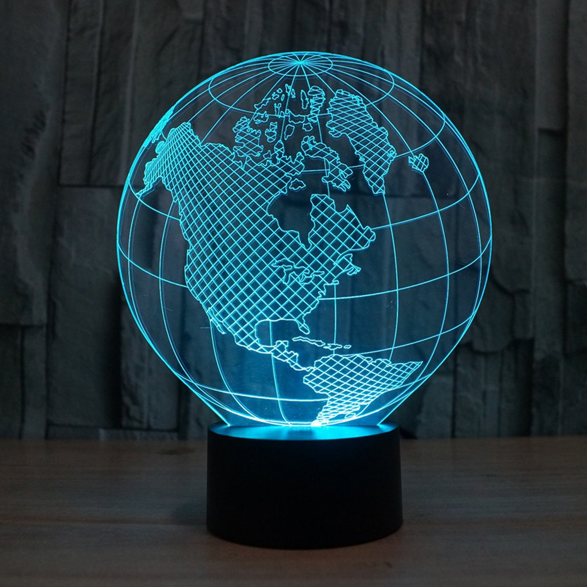 WONFAST® 3D World American Globe Optical Illusion Lighting 7 Colors Change Touch Switch LED Table Lamp Children's Night Light for Home Decoration Household Bedroom by WONFAST (Image #2)