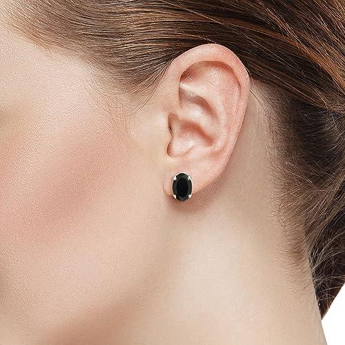Gem Stone King 14K White Gold Black Onyx Stud Earrings 2.50 Ct Oval 8X6MM