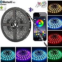 Tira LED de Bluetooth, WINSUNY Luces de Tira LED Controlada por Smartphone APP, Sync to Music, 5050 RGB 6.5 ft / 2 meter, 60 Luz LED Prueba de Agua, USB Multicolor Retroiluminación Tiras de Luces LED Iluminación para Decoración del Hogar y al Aire Libre