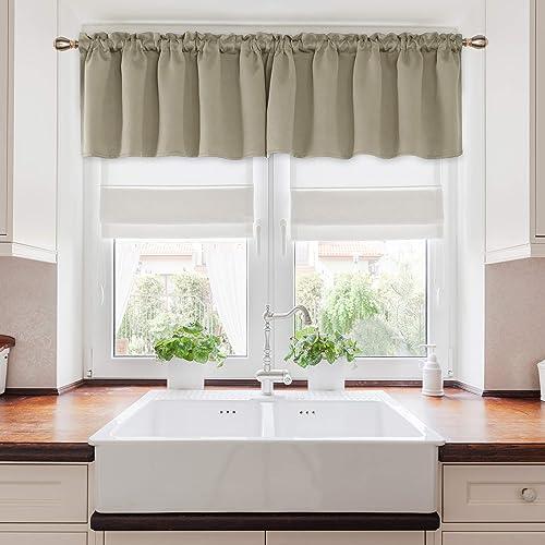 Deconovo Valance Curtain Window Kitchen Valance Blackout Valance Curtain for Basement Window 52×18 Inch Beige 4 Panels