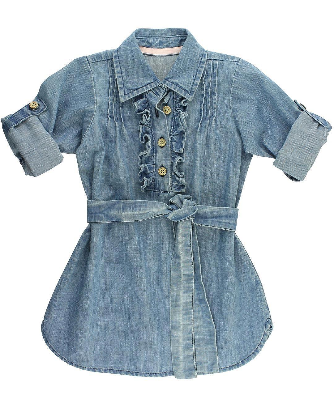 e30cdc6cd69 Amazon.com  RuffleButts Girls Light Wash Denim Shirt Dress w Ruffles - 7  Blue  Clothing