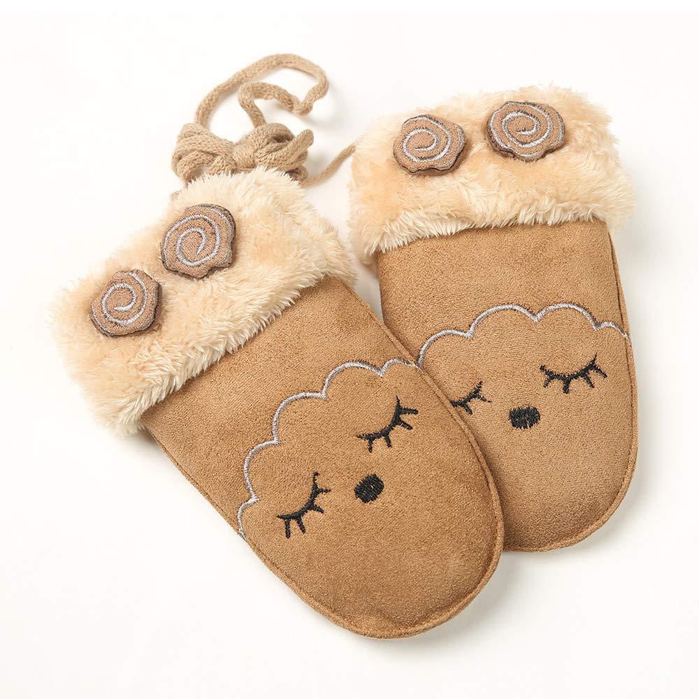 Muium Children Toddler Baby Girls Boys Cartoon Gloves Winter Warm Mittens Gift For 0-7 Years Old