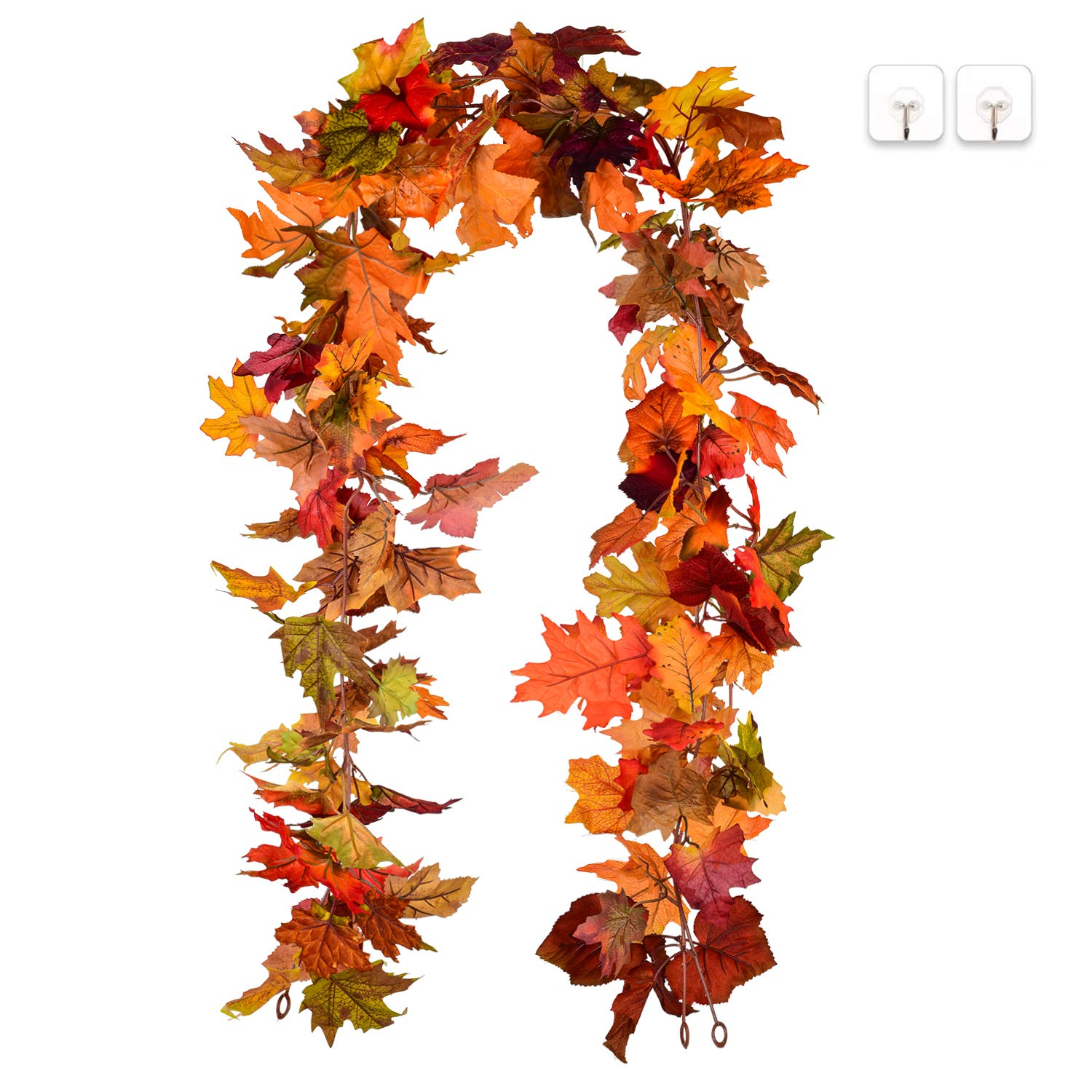 Lvydec 2 Pack Fall Maple Garland - 5.9ft/Piece Artificial Fall Foliage Garland Colorful Autumn Decor for Home Wedding Party (Mixed Color)