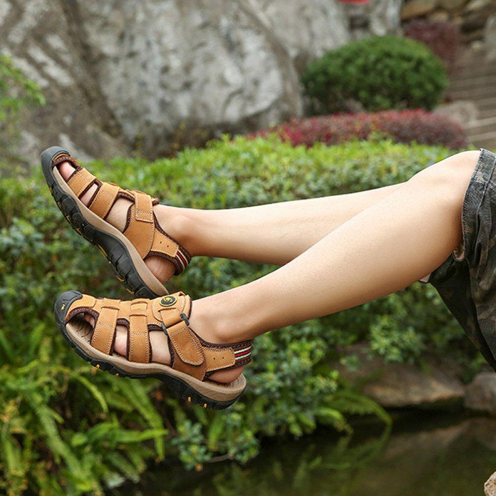 Männer Echt Leder Sandalen Closed-Toe Atmungsaktive Outdoor Turnschuhe Wandern Casual Hausschuhe Für Papa Wandern Turnschuhe Reise Schuhe Große Größe 38-47 Braun f3bc28