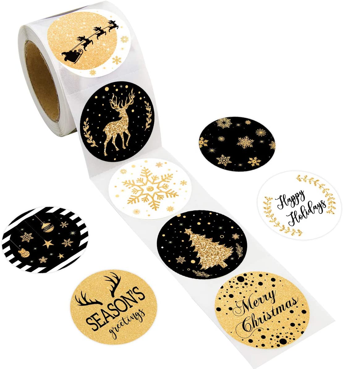Christmas Stickers Labels 500PCS Black & Gold Faux Glitter Christmas Tags for Holiday Christmas Party Decoration