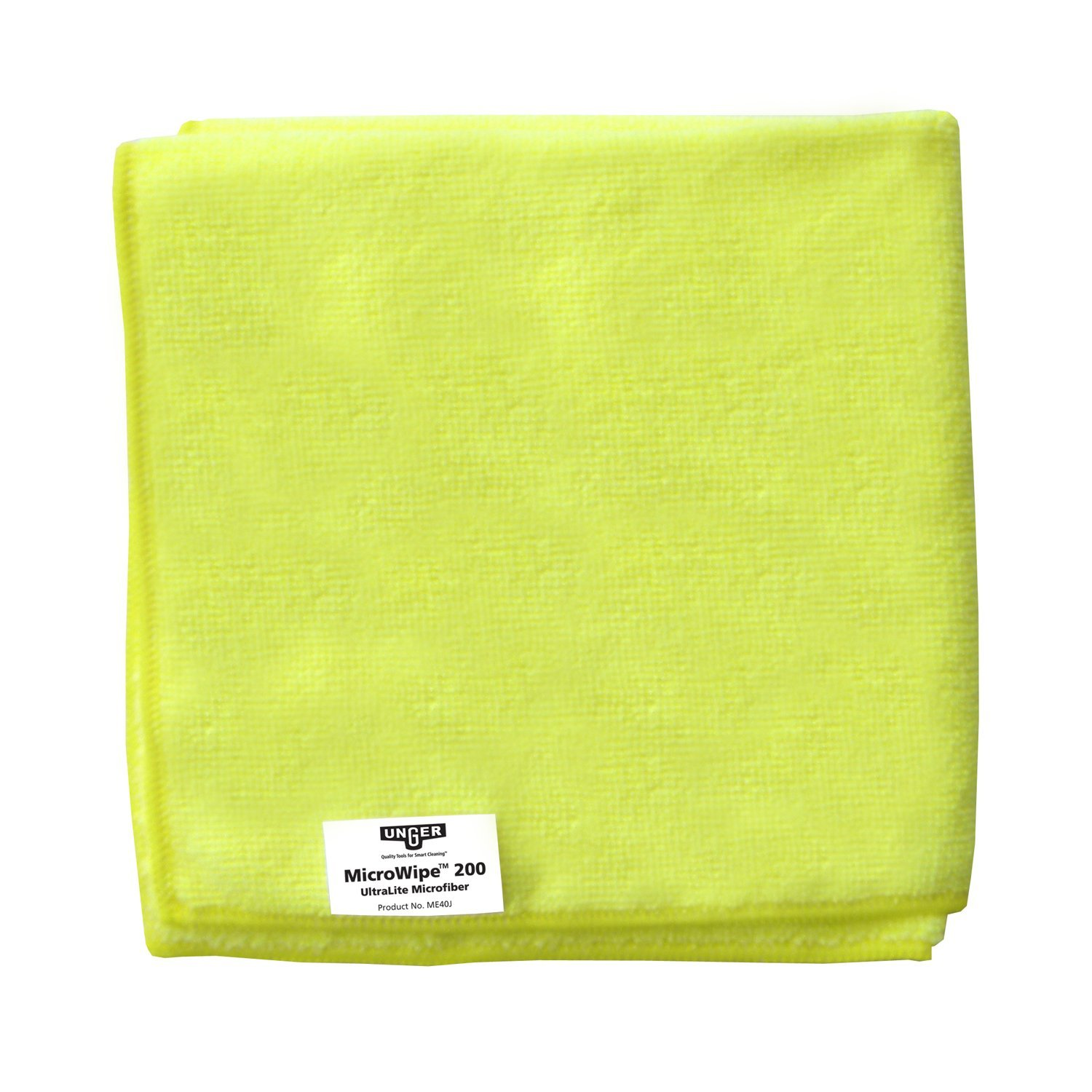 Unger ME40J MicroWipe Ultralite Microfiber Cloth, 16'' Length x 16'' Width, Yellow (Case of 10)