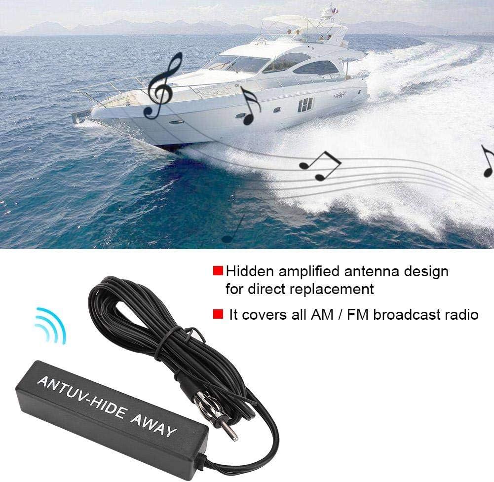 Akozon 12V Universal Electronic Stereo AM//FM Radio Hidden Amplified Antenna for Car Ship RV