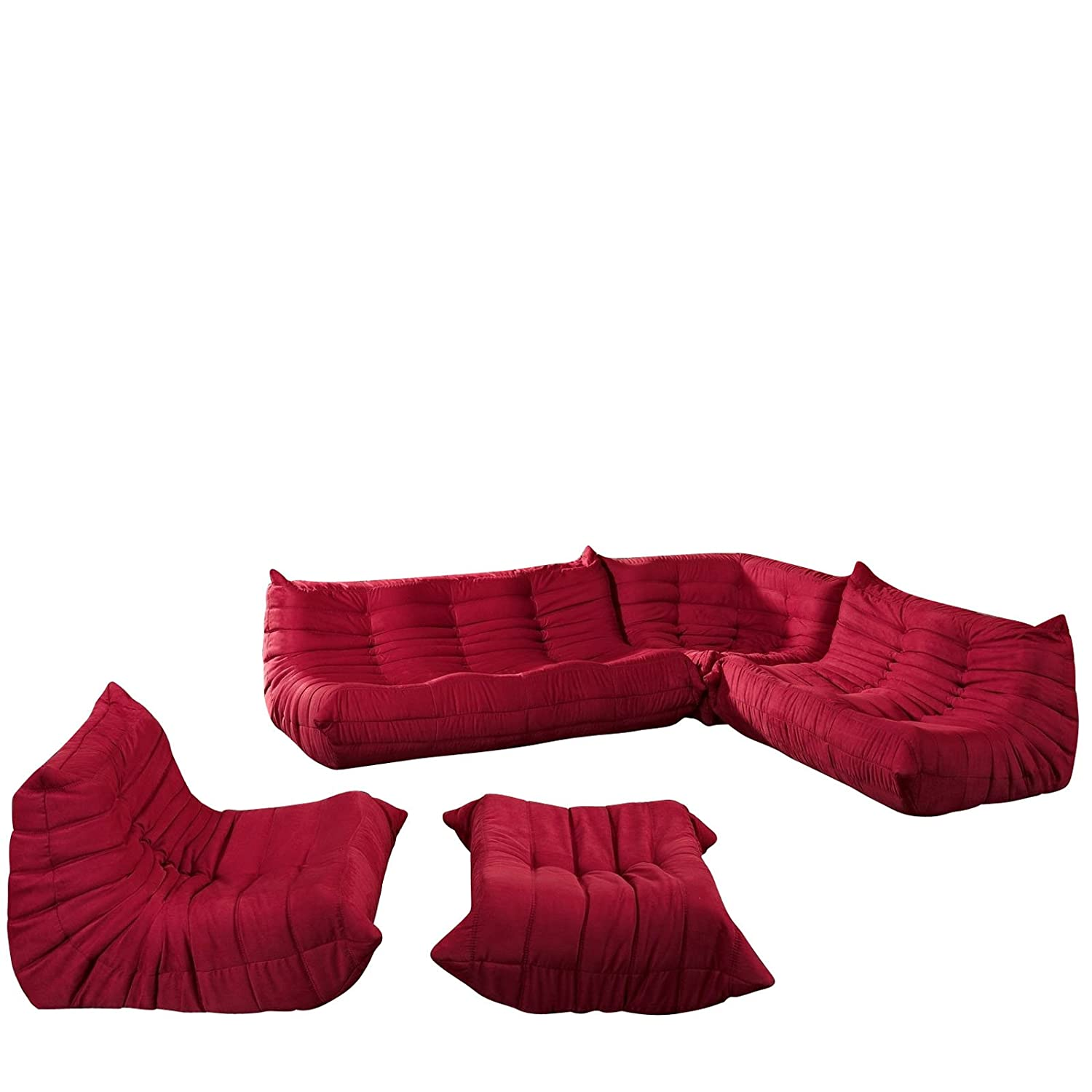 Amazon Modway EEI 558 RED 5 Piece Modular Sectional Sofa Set