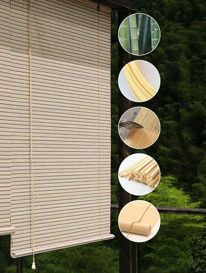 FF Estores enrollables Toldo Exterior Enrollable para Patio De Pérgola Al Aire Libre, Persianas Enrollables De Madera con Ganchos, 70/90/110/130 Cm De Ancho, Tamaño Personalizado (Size : 130×290cm): Amazon.es: Hogar