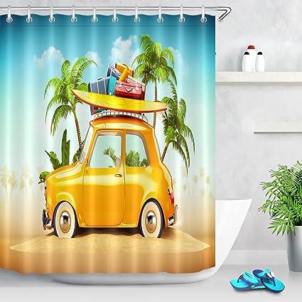 Cortina de ducha de viaje de verano Coche retro divertido con tabla de surf y maletas