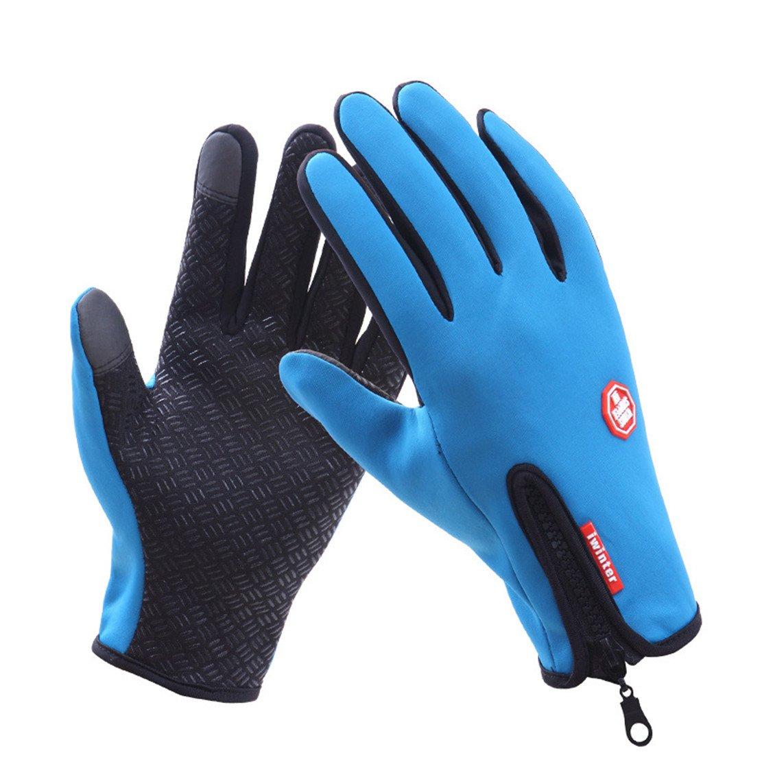 乗馬手袋、Wowen冬メンズとレディース手袋タッチスクリーン手袋アウトドアスポーツ手袋ドライブ登山、スキー、 B076XYX9JN Large ブルー ブルー Large