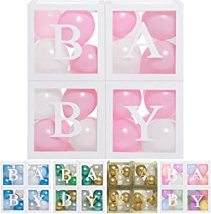 Baby Shower Boxes Party Decorations - 45 pcs, 33 Pink White Balloons, 4 Clear & Transparent Blocks, 8 Letters, First Birthday Centerpiece Decor & Supplies for Boys and Girls, Gender Reveal Backdrop