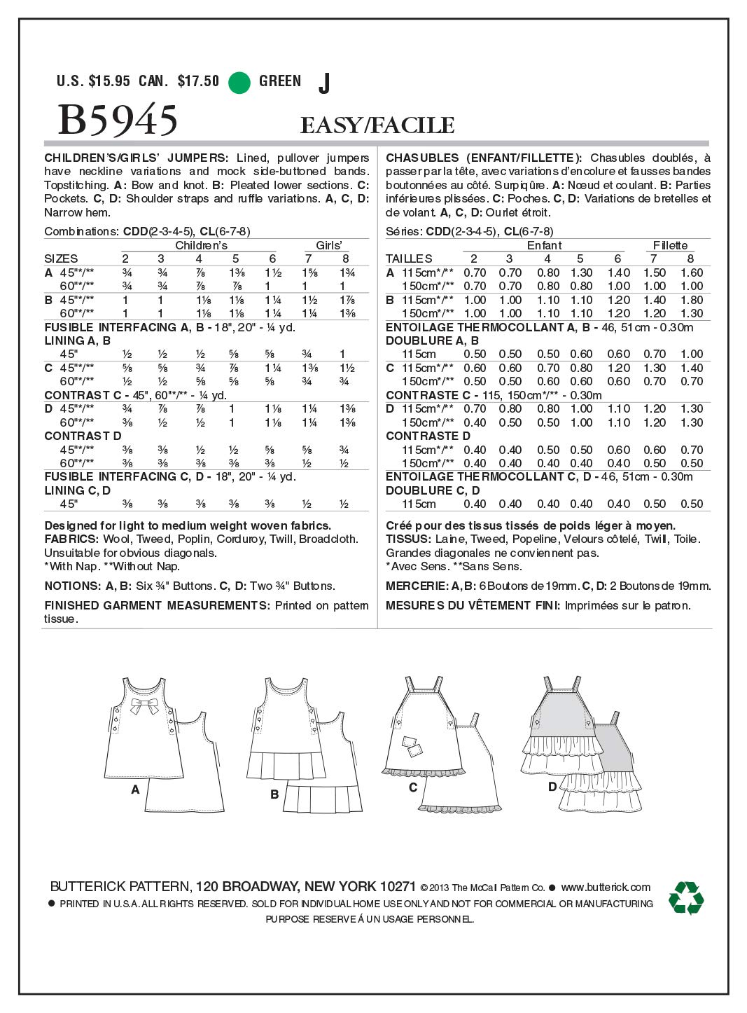 4ea80f0c34f2d Amazon.com  Butterick Patterns B5945 Children s Girls  Jumper Sewing  Template