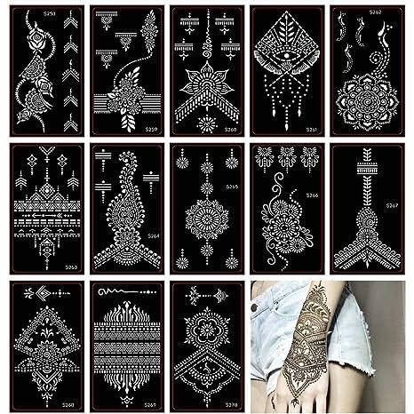 Xmasir 30 Hojas Tatuaje de henna Plantilla/Brillos Set de templos ...