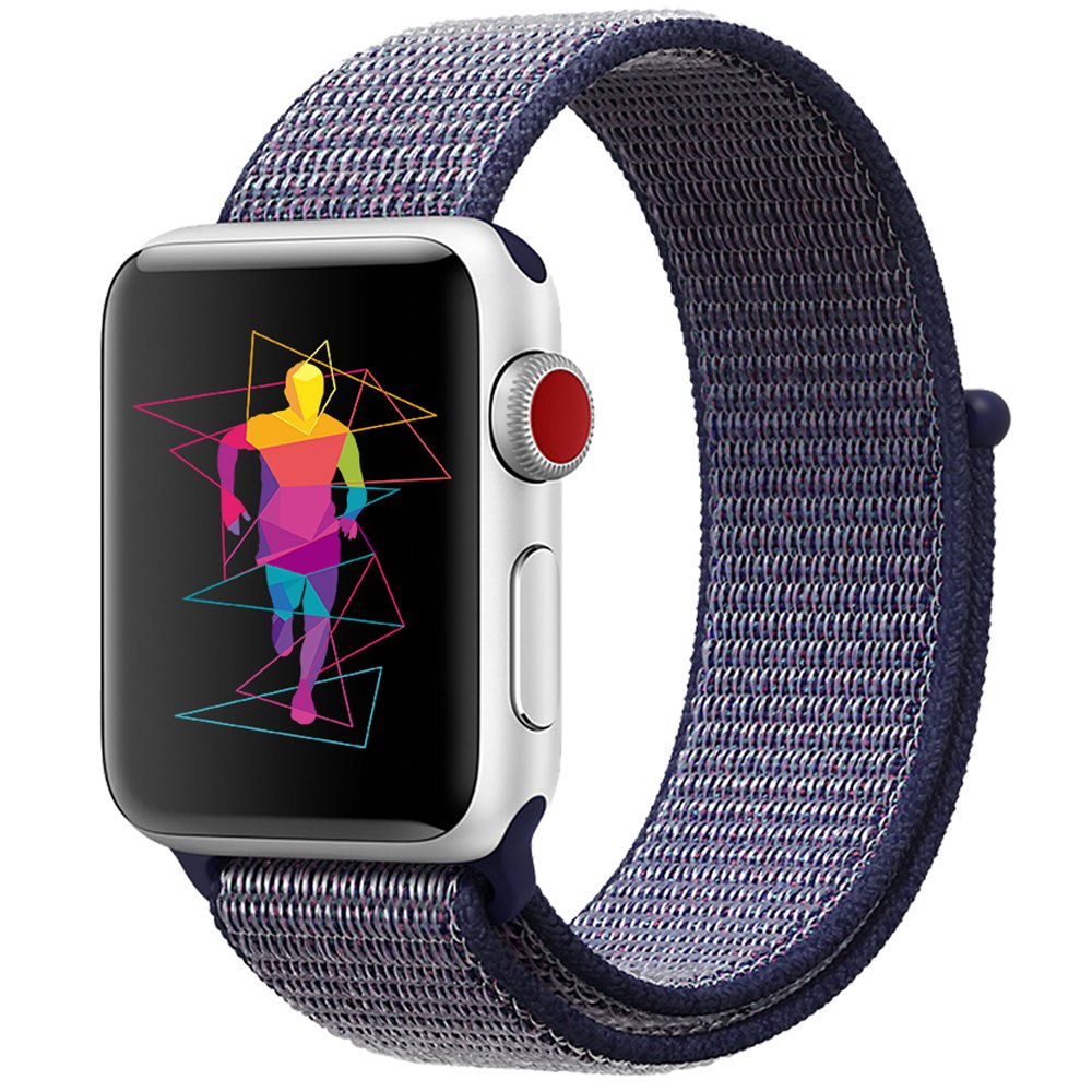 INTENY Sport Band Compatible for Apple Watch 42mm, Breathable Nylon Sport Loop, Strap Compatible for iWatch Series 3, Series 2, Series 1 (Midnight Blue, 42mm)