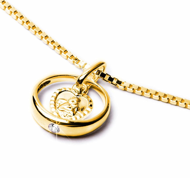 Schmuck Klein Goldener Taufring mit Schutzengel herzförmig Zirkonia weiß Ø 12 mm 333-- Gold Taufgeschenk