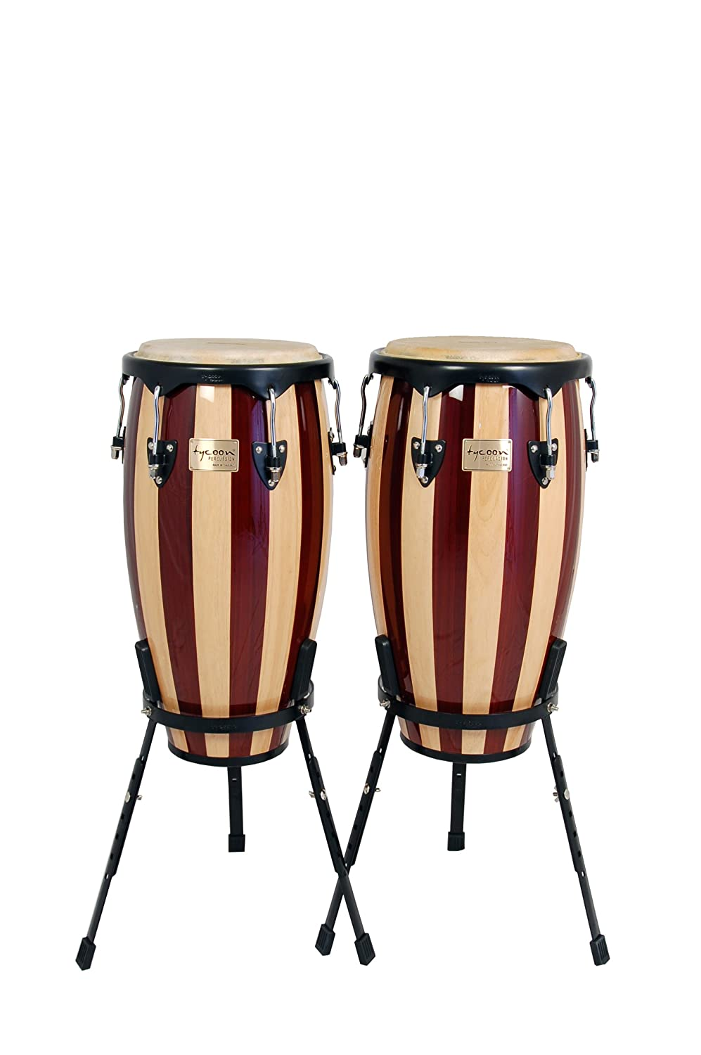 Tycoon Percussion 11.75 Inch & 12.5 Inch Congas Retro Finish With Single Stands TC-92 B RE/S
